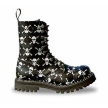 Steel Boots bakancs,10 lyukú, halálfejes