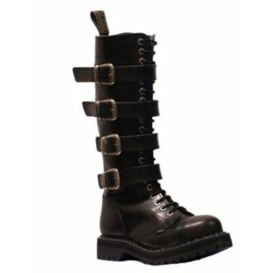Steel Boots bakancs, 20 lyukú, fekete színben, 4 csatos, 45-ös méret