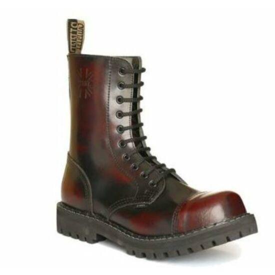 Steel Boots bakancs, 10 lyukú, bordó színben, 39-es méret