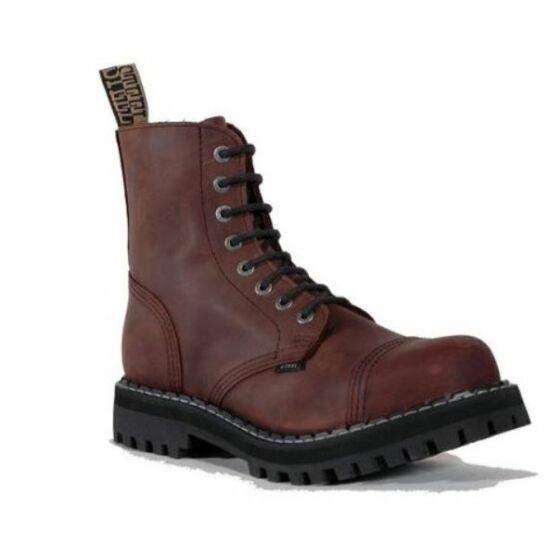 Steel Boots bakancs, 8 lyukú, barna színben, 43-es méret