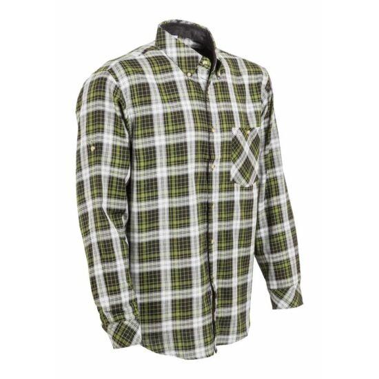 Kockás ing, kétrétegű, zöld-fekete