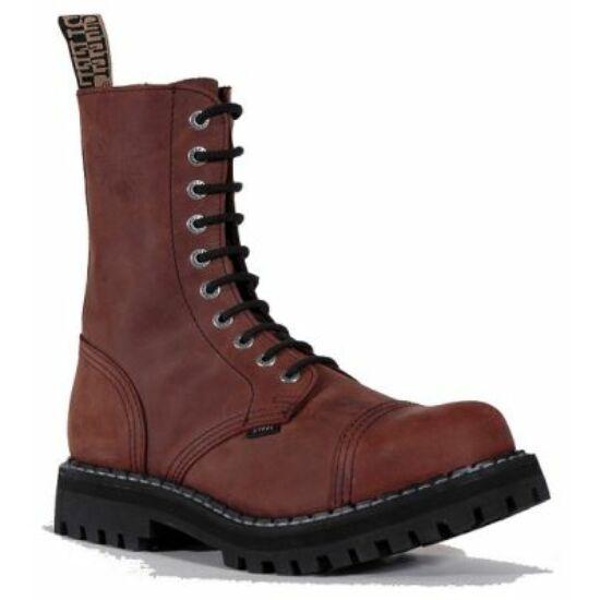 Steel Boots bakancs, 10 lyukú, barna színben