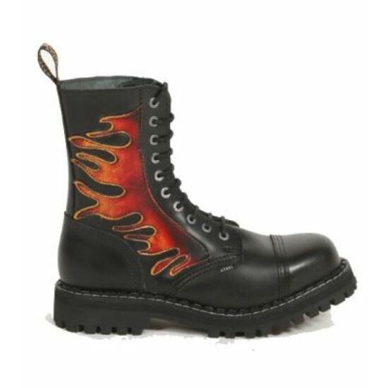 Steel Boots bakancs, 10 lyukú, lángmintás színben