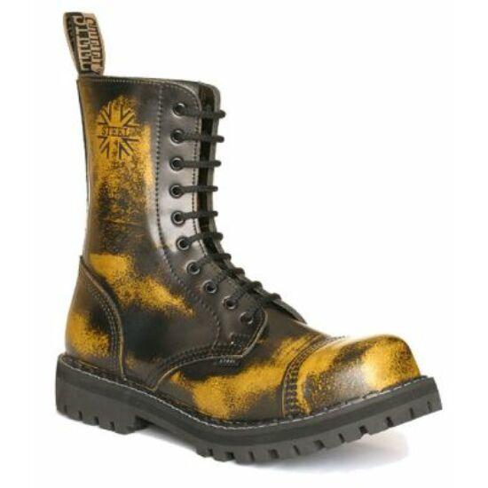 Steel Boots bakancs, 10 lyukú, sárga színben