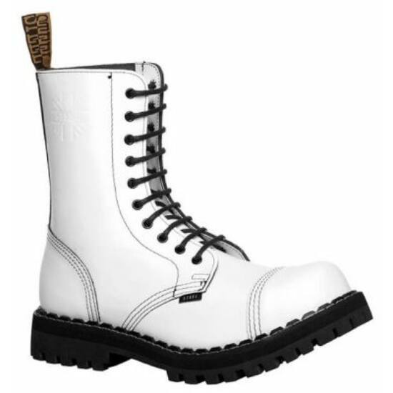 Steel Boots bakancs, 10 lyukú, tiszta fehér színben