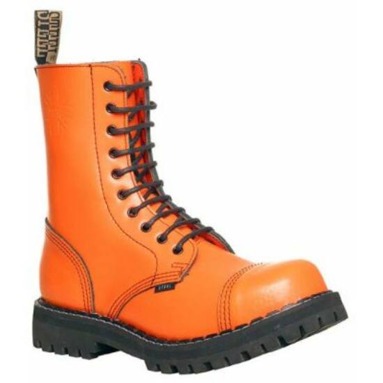 Steel Boots bakancs, 10 lyukú, tiszta narancs színben