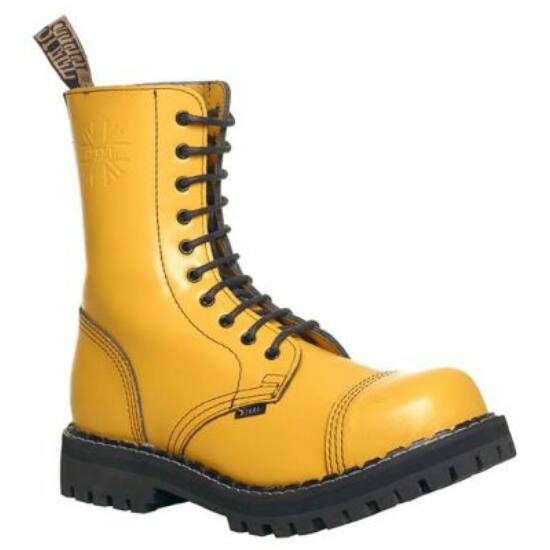 Steel Boots bakancs, 10 lyukú, tiszta sárga színben