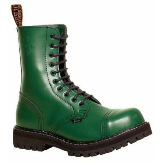 Steel Boots bakancs, 10 lyukú, tiszta zöld színben