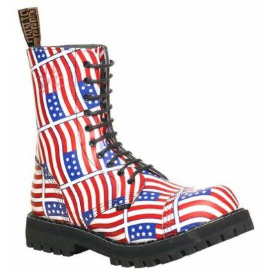 Steel Boots bakancs,10 lyukú, USA zászló színben
