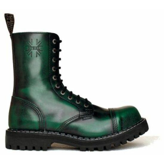 Steel Boots bakancs, 10 lyukú, zöld színben