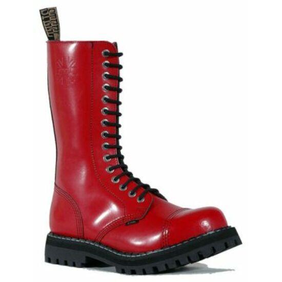 Steel Boots bakancs, 15 lyukú, tiszta piros színben