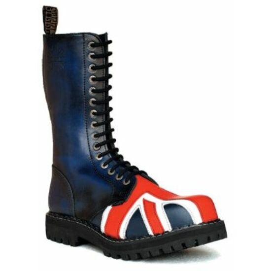 Steel Boots bakancs, 15 lyukú, UK zászló színben