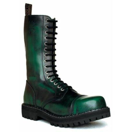 Steel Boots bakancs, 15 lyukú, zöld színben