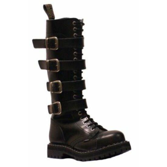 Steel Boots bakancs, 20 lyukú, fekete színben, 4 csatos