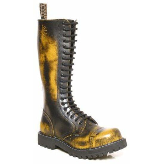 Steel Boots bakancs, 20 lyukú, sárga színben