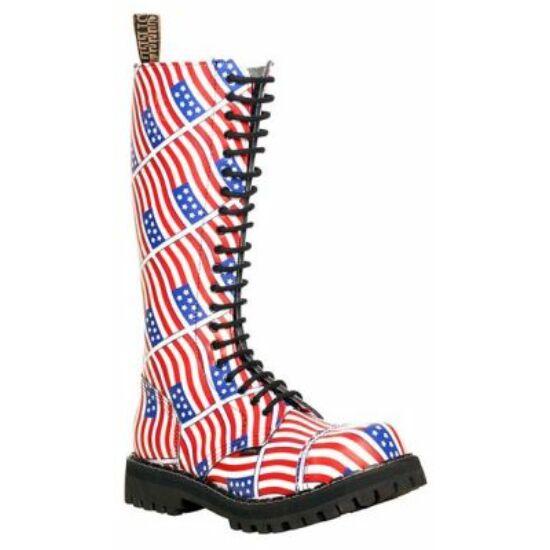 Steel Boots bakancs, 20 lyukú, USA zászló színben