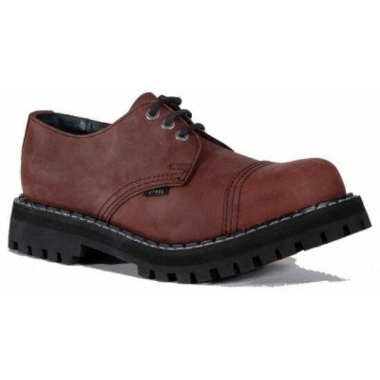 Steel Boots bakancs, 3 lyukú, barna színben