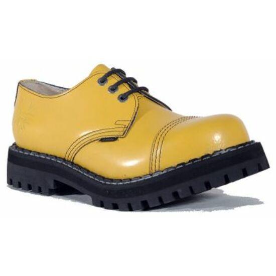 Steel Boots bakancs, 3 lyukú, tiszta sárga színben