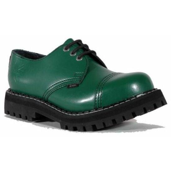 Steel Boots bakancs, 3 lyukú, tiszta zöld színben
