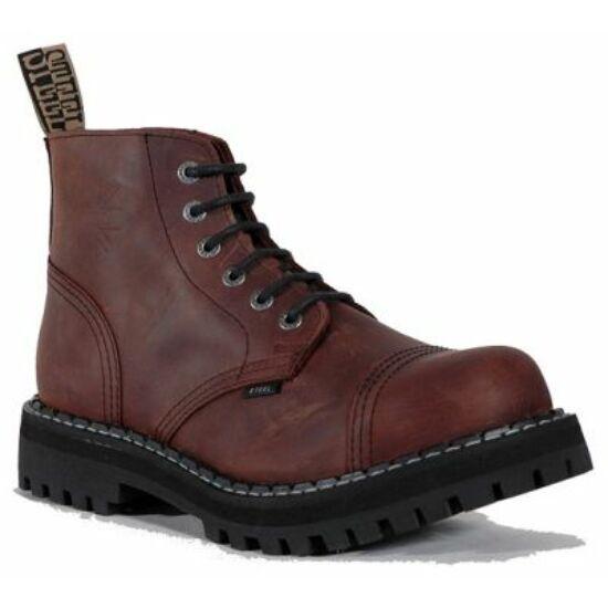 Steel Boots bakancs, 6 lyukú, barna színben