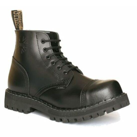 Steel Boots bakancs, 6 lyukú, fekete színben