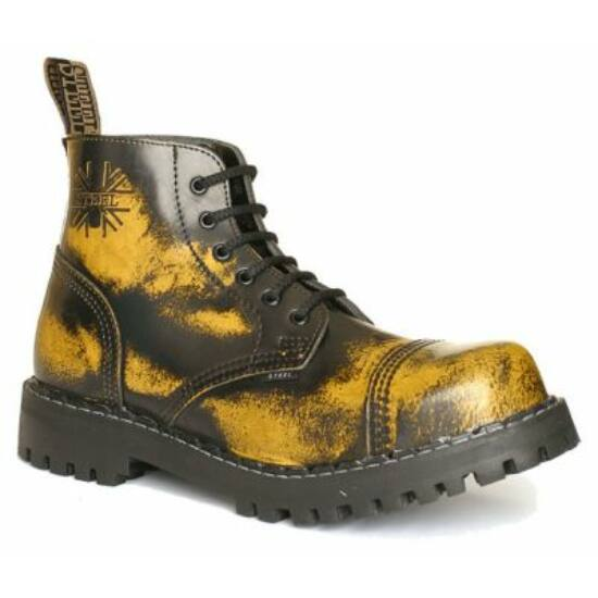 Steel Boots bakancs, 6 lyukú, sárga színben