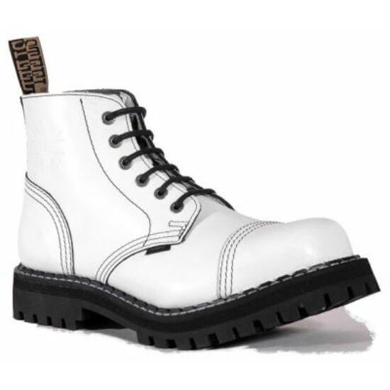 Steel Boots bakancs, 6 lyukú, tiszta fehér színben