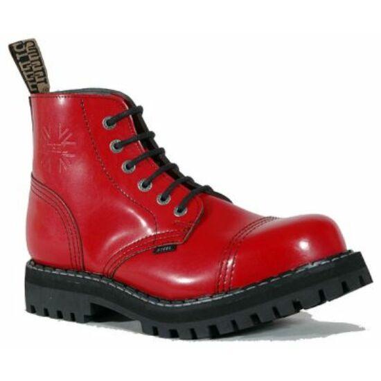 Steel Boots bakancs, 6 lyukú, tiszta piros színben