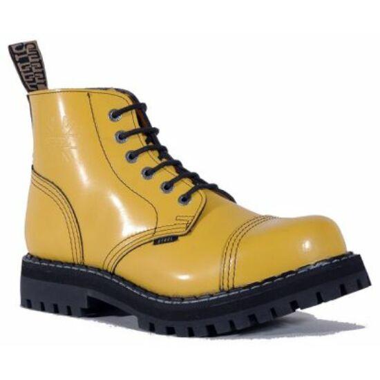 Steel Boots bakancs, 6 lyukú, tiszta sárga színben