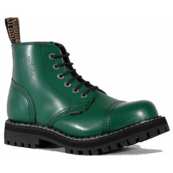 Steel Boots bakancs, 6 lyukú, tiszta zöld színben