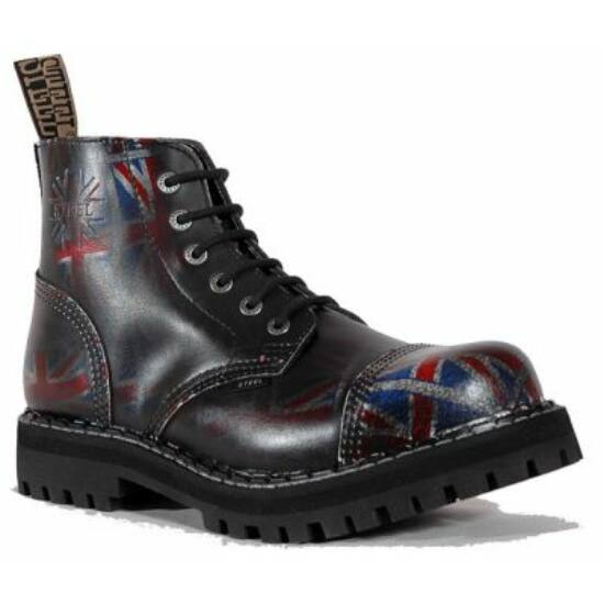 Steel Boots bakancs, 6 lyukú, UK fekete színben