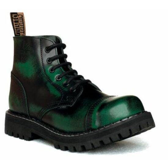 Steel Boots bakancs, 6 lyukú, zöld színben