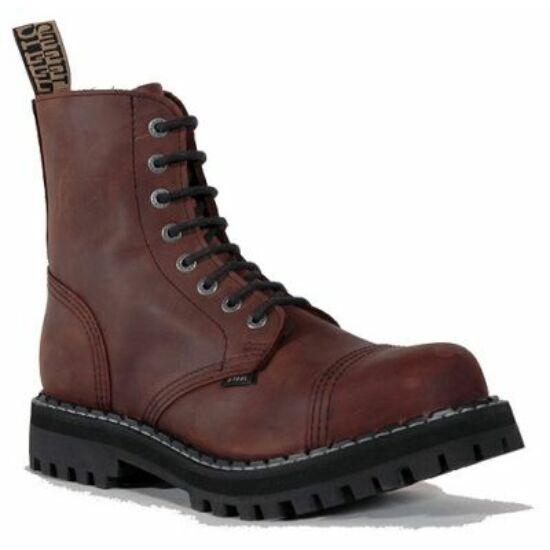 Steel Boots bakancs, 8 lyukú, barna színben