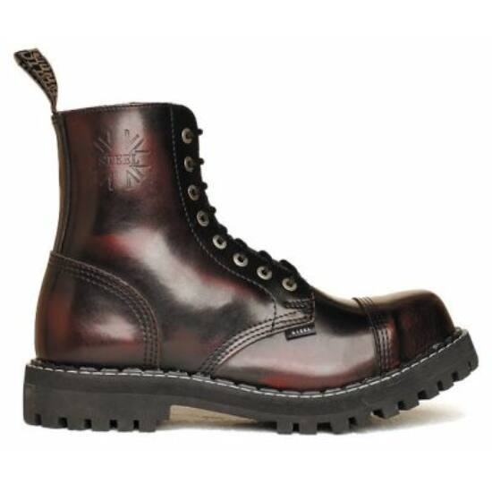 Steel Boots bakancs, 8 lyukú, bordó színben