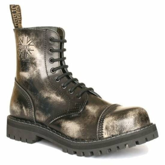 Steel Boots bakancs, 8 lyukú, fehér színben