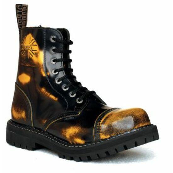 Steel Boots bakancs, 8 lyukú, sárga színben