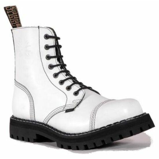 Steel Boots bakancs, 8 lyukú, tiszta fehér színben