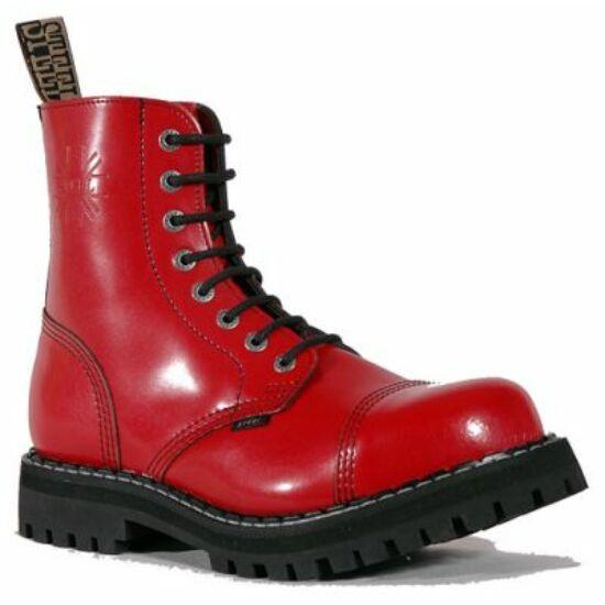 Steel Boots bakancs, 8 lyukú, tiszta piros színben