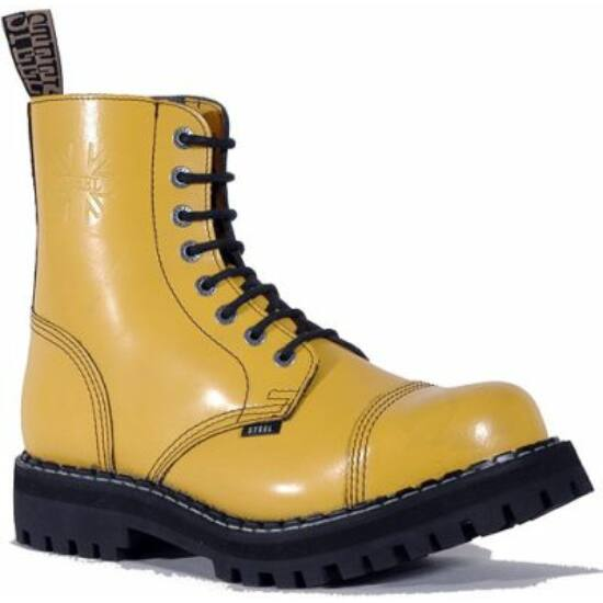 Steel Boots bakancs, 8 lyukú, tiszta sárga színben