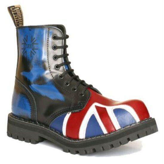Steel Boots bakancs, 8 lyukú, UK zászló színben