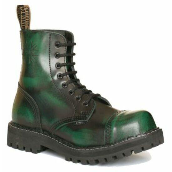 Steel Boots bakancs, 8 lyukú, zöld színben