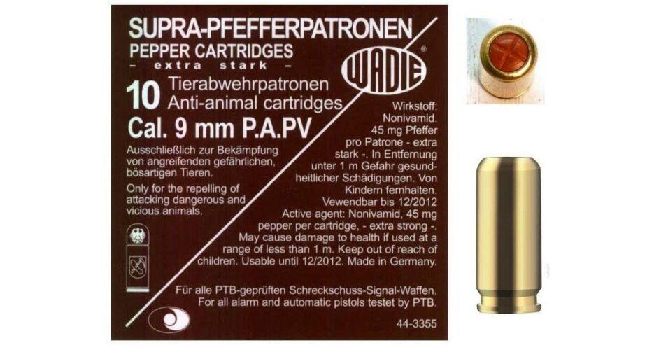 9mm PA PV-Supra Pepper gáztöltény 120mg